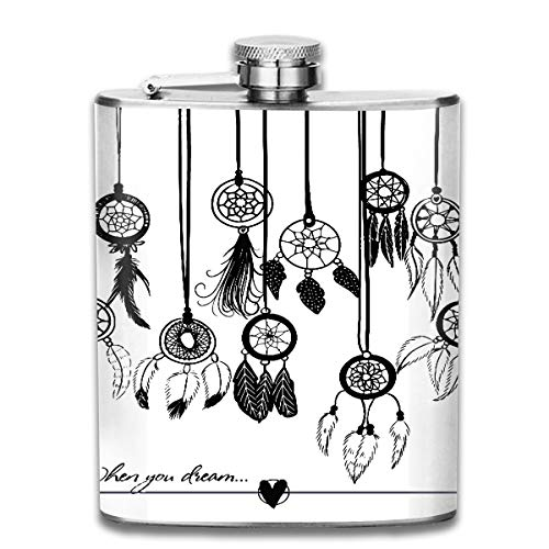 Werert Stainless Steel Flasks 7 Oz Black Dreamcatcher Dream Catcher On The White Colorful Indian Hippie Native Trap Print Whiskey Flask Hip Flask Leak Proof Wine Men Women (Flasche Trap-edelstahl)