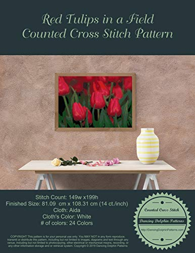 Red Tulips in a Field: Counted Cross Stitch Pattern (English Edition) -