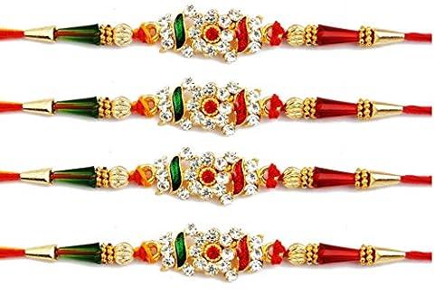 Lot de 4pcs Rakhi pour Bhaiya, Bhabhi sur fils Rakhi indien Bracelet Rakshabandhan Festival, Rakhi pour Brother, Meilleur Cadeau pour Brother sur Rakshabandhan.