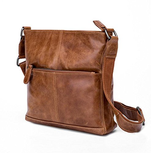 Men Essential Qualité Sac Carré Vintage Plat Sac Crossover Noir,Brown-M