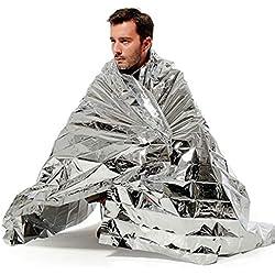 Dibiao Ligero Impermeable de Rescate de Emergencia Manta Aislamiento térmico Supervivencia Saco de Dormir Equipo de Supervivencia al Aire Libre (Color : Silver)