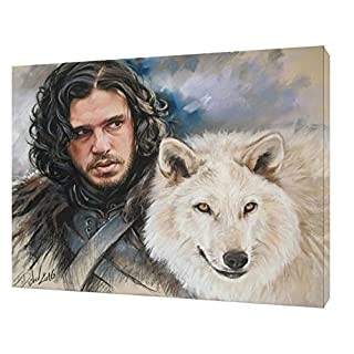 JON SNOW GAME OF THRONES WITH CHARCOAL SOFT PASTEL PAINT PRINT ON FRAMED CANVAS 24 x 16 inch -38mm depth