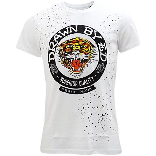 Ed Hardy Herren T-Shirt, Einfarbig Weiß Weiß Gr. X-Large, - T-shirt Ed Hardy