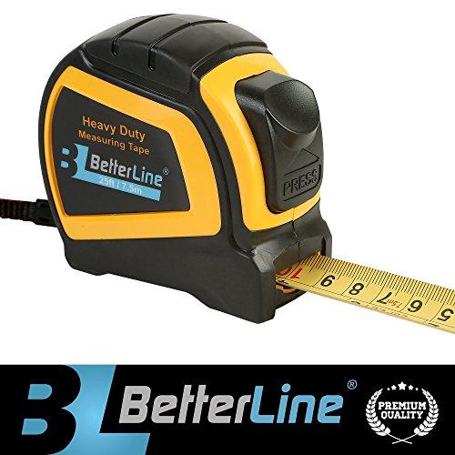 Maßband für Schwereinsatz von BetterLine 25 Fuß mal 1 Zoll (7,5 Meter x 2,5 cm) / Nylon beschichtetes stabiles mattes Band / Auto-Sperr-Mechanismus / Gürtelclip & Gurt / Meter & Zoll (Fuß Maßband 25)