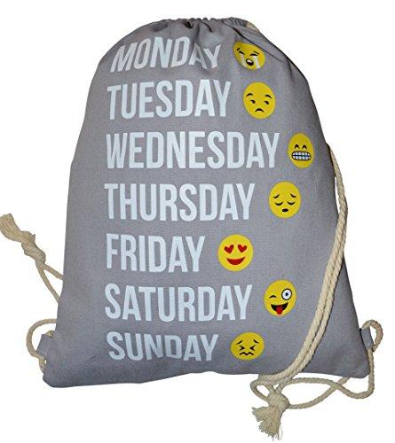 Imagen de turn bolsa  bolsa con cordón emoticons emoji patrón smileys bolsa de deporte bolsa de deporte bordar smiley emoticon aufdruck hipster saco, gris