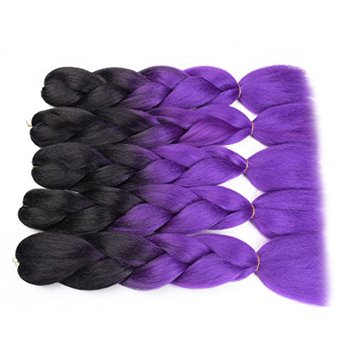 Onetree Jumbo Twisting Braiding hair Ombre Synthetic Jumbo Braids Hair Bulk 24Inch 100g/Pcs (5Pcs/Lot, Black/Purple)) (Hair Purple Light Extensions)