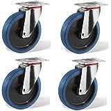 4 ruedas pivotantes, 100 mm, goma elástica azul LOT11 - Rueda pivotante con estructura de chapa de acero tratado con zinc, 100 de diámetro, goma azul, desplazamiento frontal sencillo, arranque con poco esfuerzo, silencioso, no deja restos, movimiento exterior
