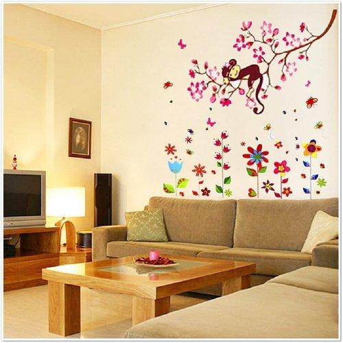 Walplus - Riesiges Blumen/AFFE/Schmetterlinge Kinder Wand Sticker (Tattoos Colorful Flower)