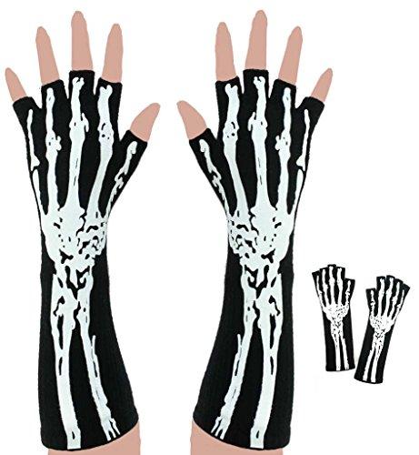 Halloween Handschuhe Skelett, ohne Finger, Halloween, Party, Karneval, Show