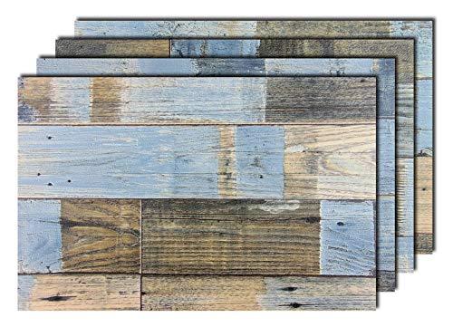 8er Premium Tischsets Holzoptik Shabby Braun-Blau | je ca. 43,5x28,5cm | je ca. 2,8mm | je ca. 200g | PVC-CV | rechteckig | abwaschbar | Gastro-Qualität | bazaaro