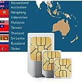 travSIM Daten Sim Karte mit 2GB für 30 Tage für 11 Länder in Asien inkl. Thailand, Malaysia, Indonesien, Neuseeland