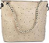 styleBREAKER Handtaschen Set mit Strassapplikation im Sternenhimmel Design, 2 Taschen 02012013, Farbe:Creme-Beige