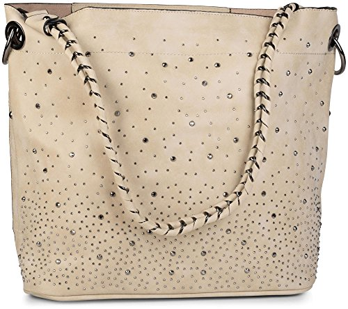 styleBREAKER Handtaschen Set mit Strassapplikation im Sternenhimmel Design, 2 Taschen 02012013, Farbe:Creme-Beige (Creme Stoff-handtaschen)