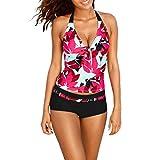 Xinan Bikini Set Damen Badeanzug Bademode Frauen Tankini Bandage Push-up Gepolsterten BH Strand Bademode Baden Swimsuit (L, Rot Sexy)