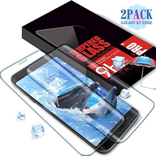 Aonsen Protector de Pantalla Galaxy S7 Edge, [2 Pack] 3D Curvado Full Coverage Cristal Templado Protector de Pantalla, HD Vidrio Templado Protector para Samsung Galaxy S7 Edge