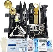 Kit de Supervivencia, 24 en 1 Multifuncional Equipo de Botiquín Primeros Auxilios profecional, Regalos Ideales