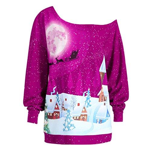 Damen Weihnachten Sweatshirt Sonnena Weihnachtspullover Christmas Print digitaldruck Langarmshirt Schulterfrei Pullover großen größen Oberteile Tops Hemd T-shirt Outwear Coat fur Party (Hot pink, 4XL)
