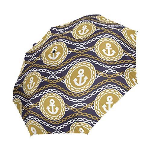 Ahomy Art Regenschirm, 3-Fach faltbar, Ankerkette, Reise-Regenschirm, stabil, Winddicht, UV-Schutz, automatisches Öffnen/Schließen