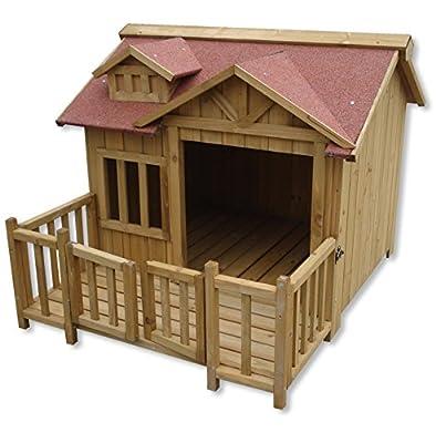 Wiltec Luxury XL Dog Kennel Dog House Wood Balcony Garden Veranda Dog from WilTec