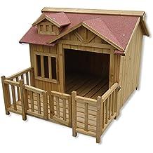 XL lujo caseta perros perrera madera balcón terraza jardín exterior mascotas ...