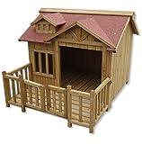 Wiltec Luxus XL Hundehütte Hundehaus Holz Balkon Garten Terrasse Hund