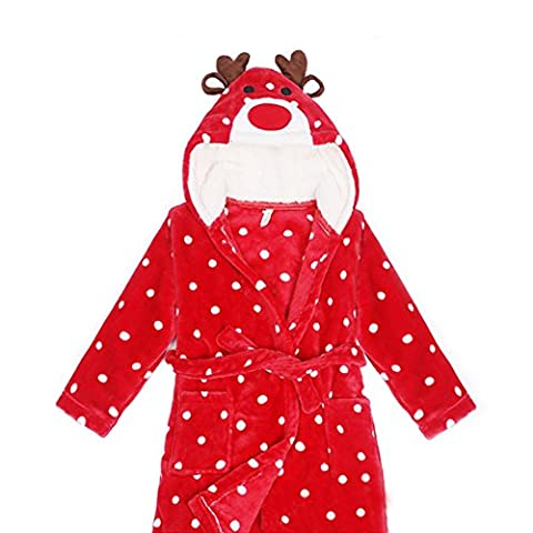 Peignoir Sortie de Bain Enfant - LATH.PIN Anime Animal Peignoir à Capuche en Flanelle Serviette de Bain Doux Robe de chambre pour Filles Garçon - Rouge Taille 100