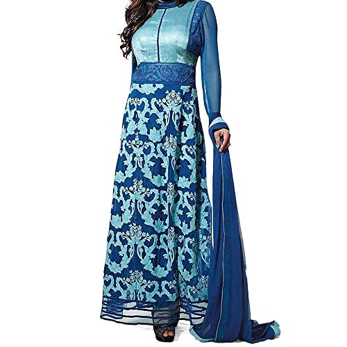 Bollywood Drashti Dhami Georgette and Raw Silk Party Wear Anarkali Suit In Blue Colour  available at amazon for Rs.1036