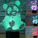 3D Panda Oso Animal Lámpara De Luz Nocturna 7 Cambio De Color Led Táctil Usb Mesa Regalo Niños Juguetes Decoración Decoraciones Navidad Regalo De San Valentín Regalo De Cumpleaños Control Remoto