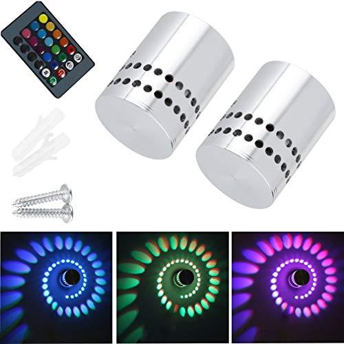 2 Stück Lamker 3W LED Wandleuchte Wandlampe Dimmbar Innen RGB Wandlicht Deckenleuchte Effektlicht Flurlampe Spirale Effekt mit Fernbedienung für Flur Schlafzimmer Balkon Wohnzimmer -