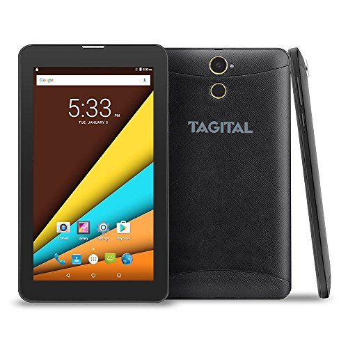 "Tagital 7"" Quad Core 3G Phablet, Android Phone Tablet, Android 6.0, 1024 x 600 IPS Bildschirm, Dual Kamera, entsperrt GSM w/ Dual SIM Kartenschlitz, 2G/3G Phablet"