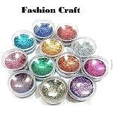 Fashion Craft Nail Art Shinning Glitter (Multicolour)-Set of 12