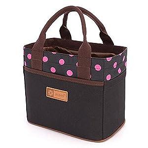 Leinwand Bento Mittagessen Tasche für Picknick Schule Büro Tote Mittagessen Tasche mit Seil Gürtel stilvoll (Schwarz&Rose Punkt)