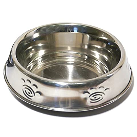 Rosewood Deluxe Stainless Steel Paw Print Anti-Ant Cat Dish 6inch