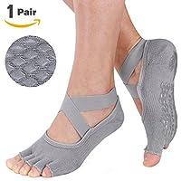 Muezna Non Slip Yoga Socks for Women, Toeless Pilates, Barre, Ballet, Bikram Fitness Socks with Anti-Skid Grips, Cotton