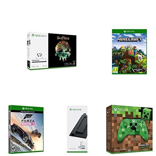 Xbox One S   Consola de 1 TB + Sea Of Thieves +  Minecraft Explorer + Mando Inalámbrico: Edición Limitada Minecraft Creeper + Soporte Vertical + Forza Horizon 3 (Xbox One)