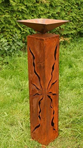 Rostsäulen 80 cm mit Muster zum Beleuchten Gartendeko