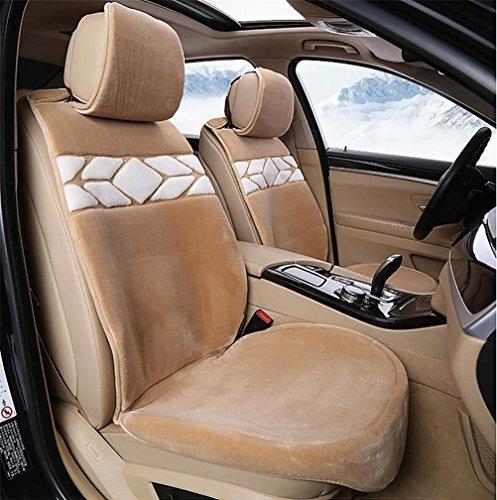 VIGKO Auto Schaffell Sitzbezüge Autoschonbezüge Autositzkissen Universal, Khaki (Für Lkw Schaffell Sitzbezüge)