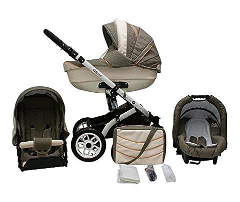 Lux4Kids Star Q Kinderwagen Komplettset (Autositz & Adapter, Regenschutz, Moskitonetz, Schwenkräder) 08 Taupe Jaquard & Eco Leder Creme
