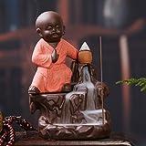 #10: eCraftIndia Karate Style Monk Buddha Smoke Backflow Cone Incense Holder Decorative Showpiece with 10 free Smoke Backflow Scented Cone Incenses