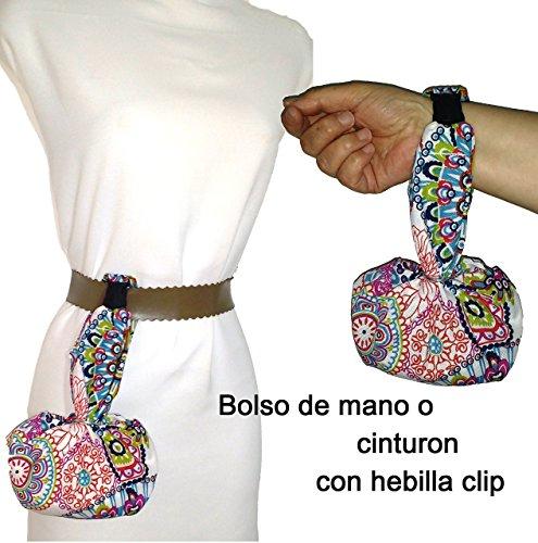 Bolso de mano MANDALA, para mujer, Con hebilla clip para colgar en el cinturón. Lavable y más cómodo que riñonera. Handmade