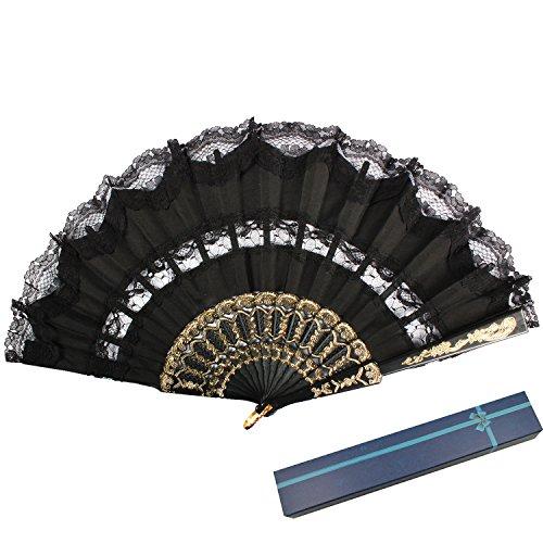 KAKOO Spanischer Fächer Flamenco Tanzfächer Faltbar Spitze Handfächer Taschenfächer Dekofächer mit Box Für Kostüm Tanzabend Geschenk Maske (Schwarz)