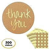 4cm Cerchio Oro Rilievo Kraft Grazie (Thank You) Adesivi Etichetta - 10 Fogli, 200 Pezzi