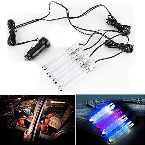 SHIYN Auto Dekoration Innenlicht Neon, Auto Innenlicht LED Bunte Atmosphäre Lichter Boden Fuß Lampe Streifen Decoratio Mit 4 Röhren (Fuß-rohr Led 4)