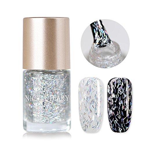 aphische Nagellack Silber Glitter Flakes Lack Öl basierte Laser Effekt Nagellack lasergramm Schimmer Galaxy Bling Himmel Vorhang Thema Maniküre Dekoration (NDHS06) ()
