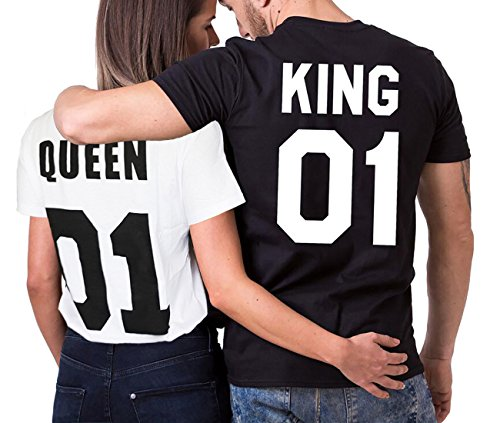 JWBBU King Queen T-Shirt Set für Paar König Königin t-Shirt Hochzeitstagsgeschenk Geburtstagsgeschenk 2 Stücke (King-S+WH-Queen-L) (Stück Pullover 2)
