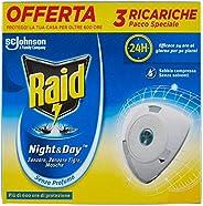 Raid Night & Day Ricarica, Antizanzare Elettrico, Repellente Zanzare Inodore a Sabbia Compressa, Confezion