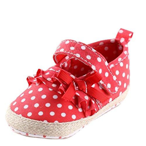 Ouneed® Krabbelschuhe , Baby Segeltuch Schuh Turnschuh rutschfeste weiche alleinige Kleinkind Schuhe Rot