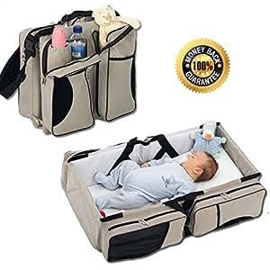 Boxum Baby Bag 3 In 1 Diaper Bag Travel Bassinet Change Station (Cream) Mulit-Purpose