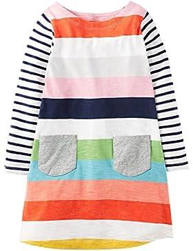 Kaily Mädchen Baumwolle Langärmelige Cartoon T-Shirt Kleid