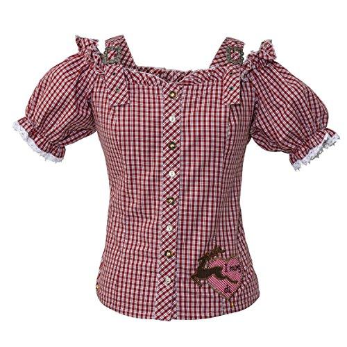 Trachten-Bluse i mog di - längenverstellbare Träger - Baumwolle Rot